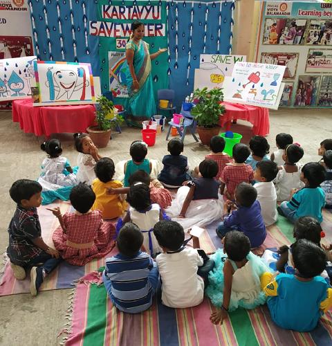 Curious kids listening to their Class Teacher….