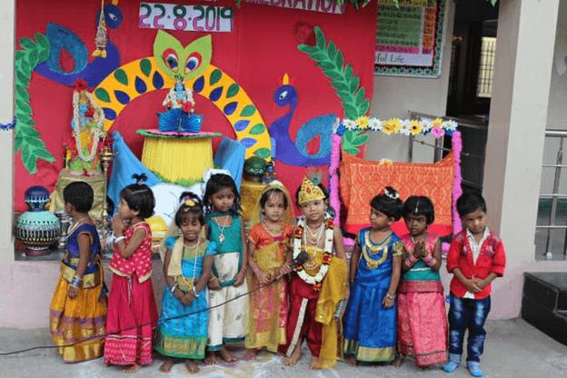 Cute tiny Krishna and Radhas are chirping glory of  little Krishna….