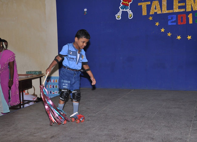 Roller skating develops the sense of balance and confidence in him
