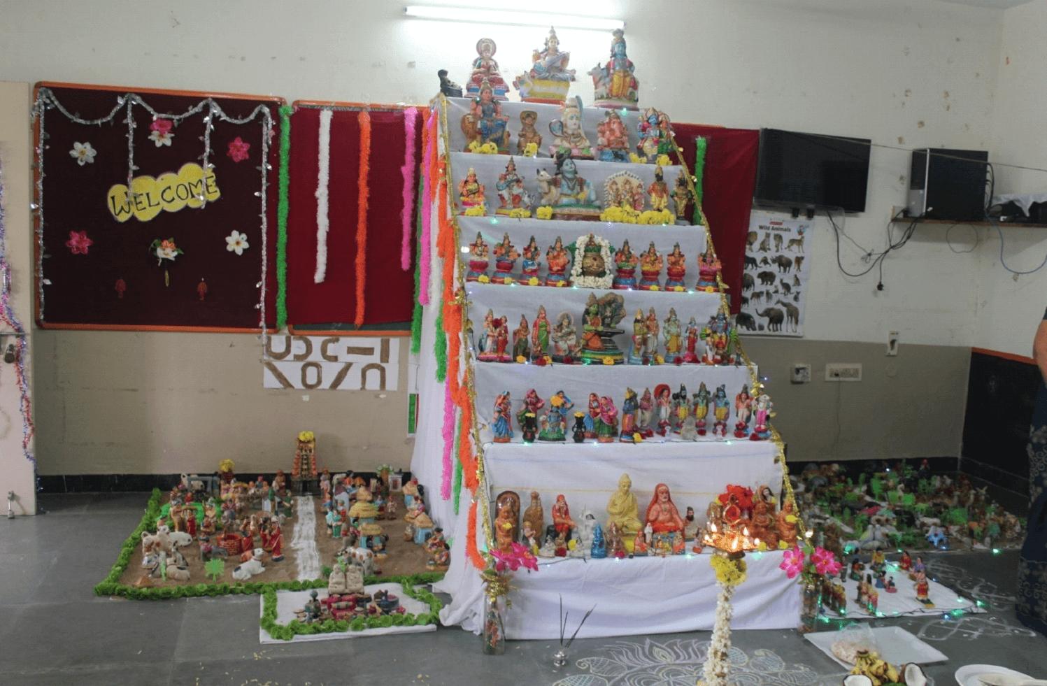 Dazzling and colourful  Golu dolls……