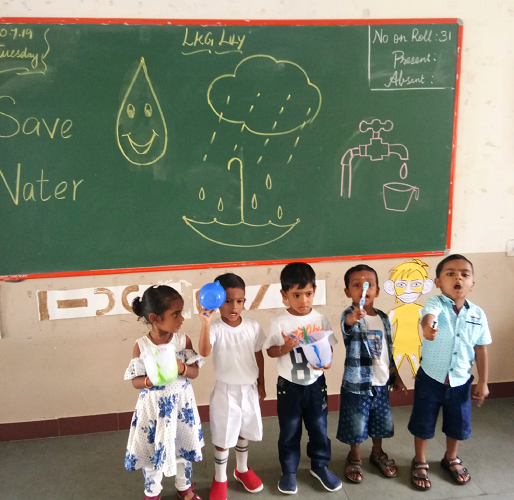 "Our little buds campaign ""Don't let the water run while brushing teeth""."