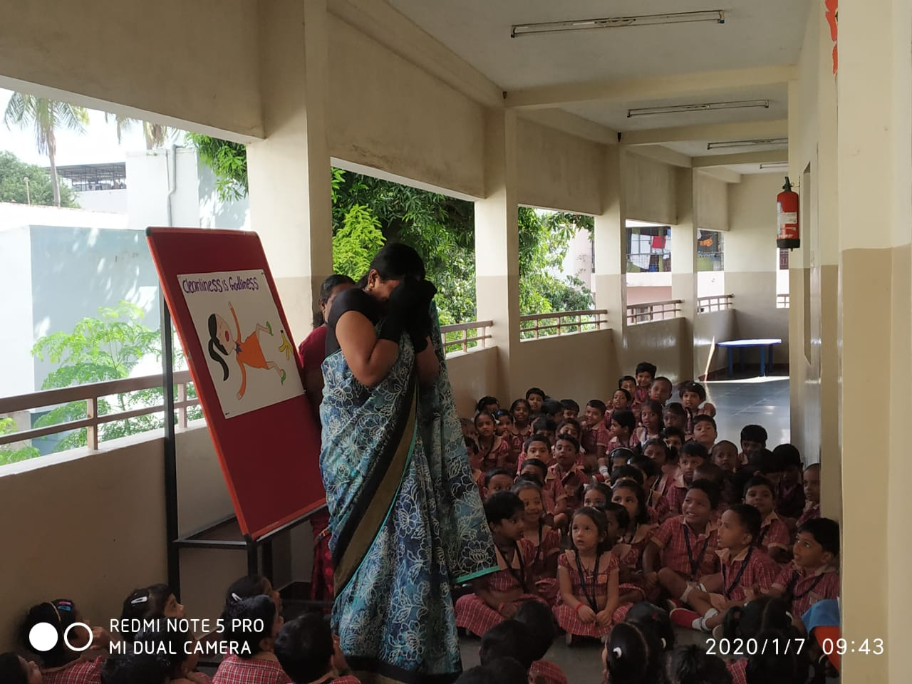 Children witnessing the skit Enthusiastically