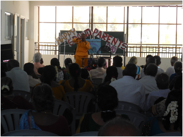 Swamiji rendering the valuable speech to the Grand Parents of PVM and PVBM students